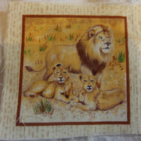 100% cotton fabric.  Lion  Sold separately, postage .62p for many (46)