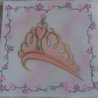 Polycotton squares. Princess crown.  Sold separately.  .62p postage on many (17)