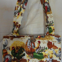 Homemade Totebag. Chicken design. Lined.  100% cotton fabric