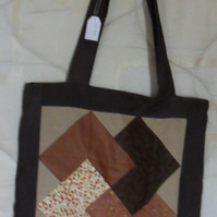 Homemade Totebag. Card trick block design. Lined.  100% cotton fabric