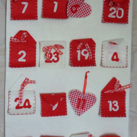 "White felt advent calendar.  Approx measures 15 half"" x 35"""