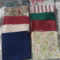 "100 polycotton squares. 4"" 10 designs, 10 of each design (set 19)"