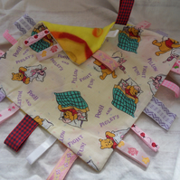 "Homemade baby,child taggy, comforter. Winnie the pooh, pillow fun. 12"" x 12"" (5)"
