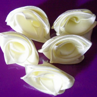 Homemade 5 Cream ribbon roses embellishment. Free postage