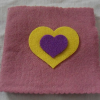Felt Sewing pin-needle case. Pink, yellow, purple (2)