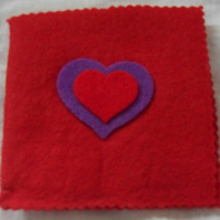 Felt Sewing pin-needle case. Red, purple, red (3)