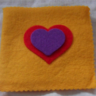 Felt Sewing pin-needle case. Yellow, purple and red (4)