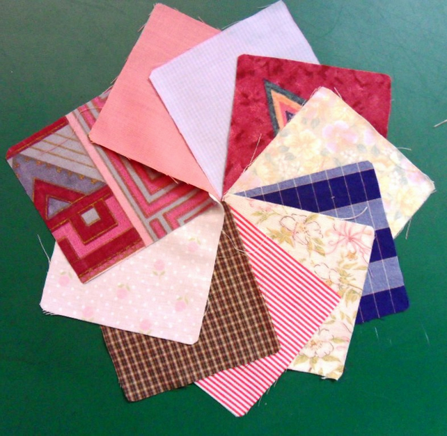 "100 poly cotton 4"" squares. Great for kids crafts or quilting (set 14)"