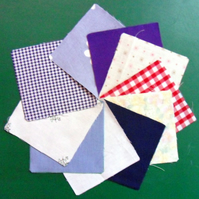 "100 poly cotton 4"" squares. Great for kids crafts or quilting (set 15)"