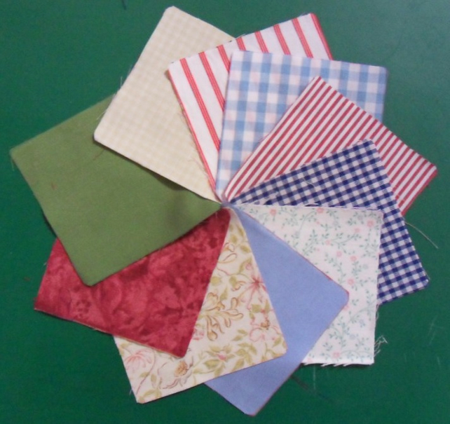 "100 poly cotton 4"" squares. Great for kids crafts or quilting (set 16)"