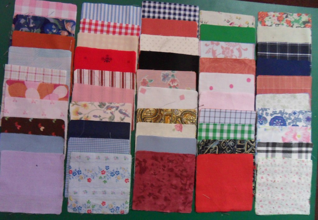 "100 poly cotton 4"" squares. Great for kids crafts or quilting (set 17)"