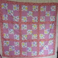 Homemade 100% cotton Carebears patchwork quilt