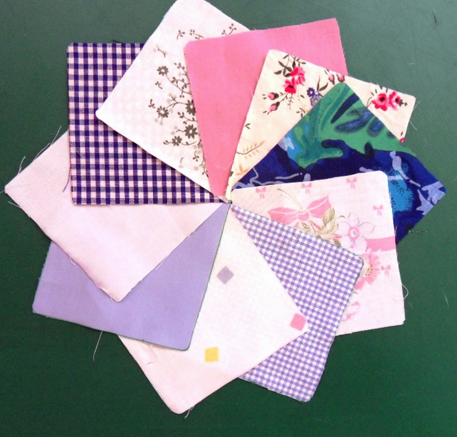 "100 poly cotton 4"" squares. Great for kids crafts or quilting (set 8)"
