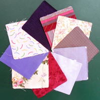 "100 poly cotton 4"" squares. Great for kids crafts or quilting (set 9)"