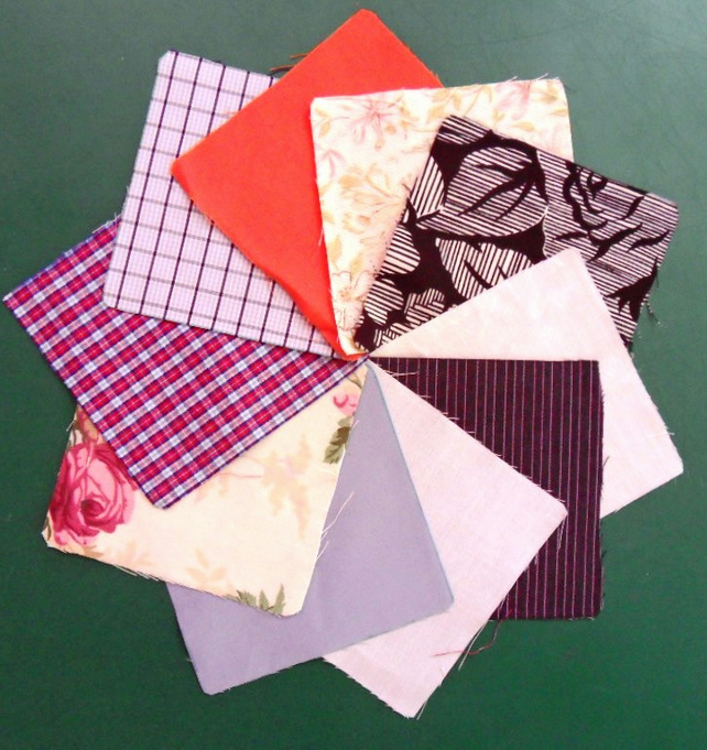 "100 poly cotton 4"" squares. Great for kids crafts or quilting (set 10)"