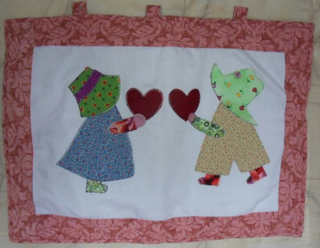 "Handmade sunbonnet Sue and Sam wall hanging. approx measurement 22"" x 16"""