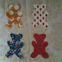 Homemade set of 4 Teddy cotton embellishments