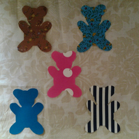 Homemade set of 5 teddys cotton embellishments