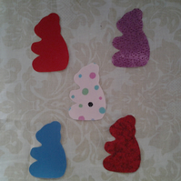 Homemade set of 5 Teddy cotton embellishments