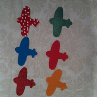 Homemade set of 6 aeroplane cotton embellishments