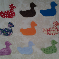 Homemade set of 9 duck cotton embellishments