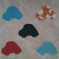 Homemade set of 5 car cotton embellishments
