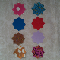 Homemade set of 8 flower cotton embellishments