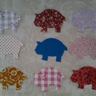 Homemade set of 9 pig cotton embellishments