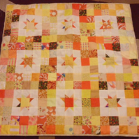 Homemade yellow, beige star quilt. baby or child 100% cotton front