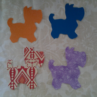 Homemade set of 4 scottie dog cotton embellishments