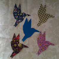 Homemade set of 5 birds in flight cotton embellishments