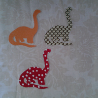Homemade set of 3 brachiosaurus cotton embellishments