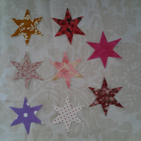 Homemade set of 8 Star cotton embellishments