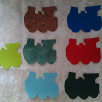 Homemade set of 7 Train cotton embellishments