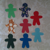 Homemade set of 8 gingerbread men cotton embellishments