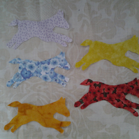 Homemade set of 5 Horse cotton embellishments
