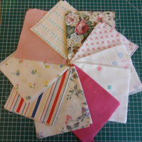 "10 Pieces poly cotton approx 9"" x 11"". Great for crafts (set 8)"