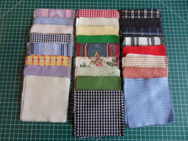 "100 poly cotton 4"" squares. Great for kids crafts or quilting (set 26)"