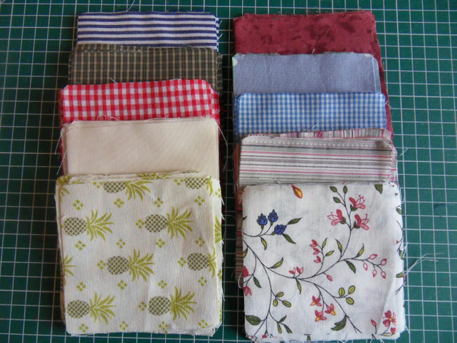 "100 poly cotton 4"" squares. Great for kids crafts or quilting (set 28)"