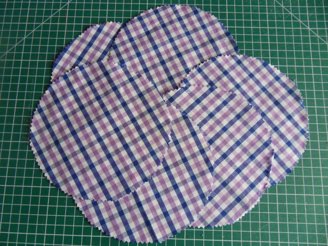 6 Jam pot dollies, Purple and blue large check