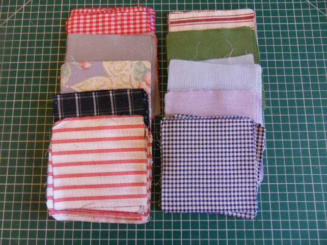 "100 poly cotton 4"" squares. Great for kids crafts or quilting (set 34)"