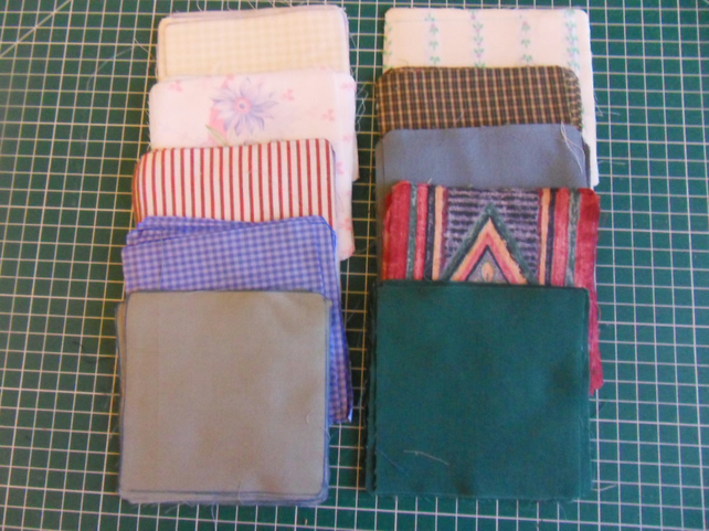 "100 poly cotton 4"" squares. Great for kids crafts or quilting (set 35)"