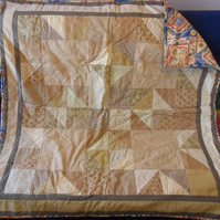 "Homemade Brown Patchwork quilt 43"" square"