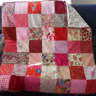 "Homemade Pink and Red Patchwork quilt. 42"" square"