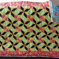 Homemade Baby star Patchwork quilt, pink,yellow,green and blue