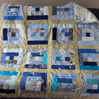 "Homemade Blue Log cabin quilt. Approx measures 50"" x 49"""