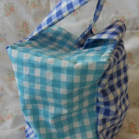 Homemade two tone blue check doorstop (34)