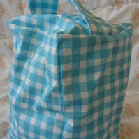 Homemade Light blue check doorstop (41)
