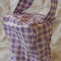 Homemade purple check doorstop (42)