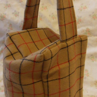 Homemade Brown Check wool feel doorstop (44)